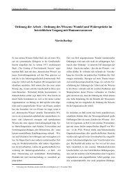 Ordnung der Arbeit – Ordnung des Wissens: Wandel und ... - SOFI