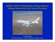 D. Backman SOFIA Outreach / SETI Institute / NASA-Ames