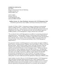 COMPANY CONTACTS - SoftBase Systems, Inc.