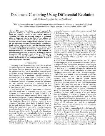 Document Clustering Using Differential Evolution