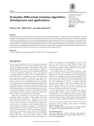 A simplex differential evolution algorithm ... - Ajith Abraham