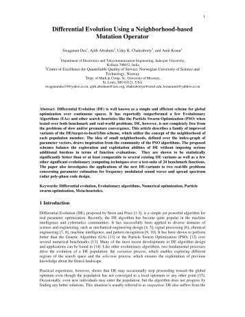 Differential Evolution Using a Neighborhood-based ... - Ajith Abraham