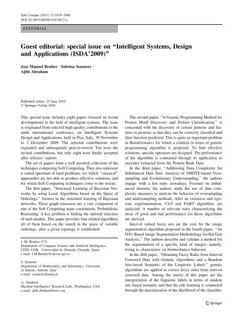 Intelligent Systems Design And Applications Ajith Abraham