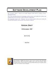 SOFTWARE DEVELOPMENT PLAN - Softwareresearch.net