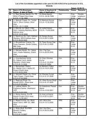 List of the Candidates appointed under para 9:3:0/9:4:0/9:5:0 ... - CCL