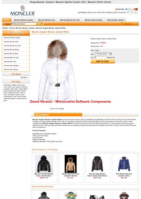 Online shopping moncler angers women jackets white in