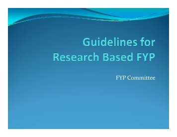 Research Based FYP Guideline