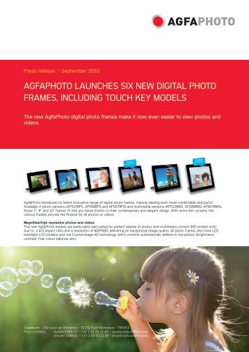 AGFAPHOTO LAUNCHES SIX NEW DIGITAL PHOTO FRAMES ...
