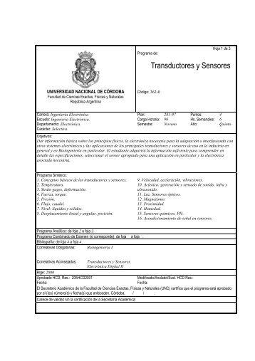 Programa de la materia - Facultad de Ciencias Exactas, Físicas y ...