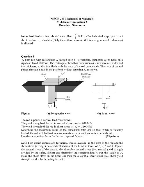 Mid-term 2 pdf - UBC Mechanical Engineering
