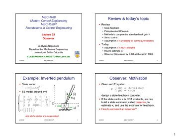 Inverted pendulum Observer - UBC Mechanical Engineering ...