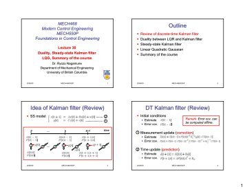 DT Kalman filter - UBC Mechanical Engineering - University of ...