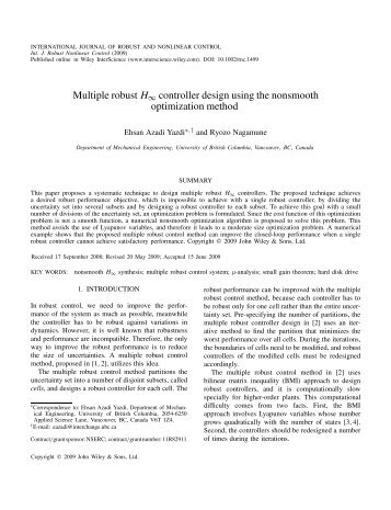 Multiple robust H∞ controller design using the non... - ResearchGate