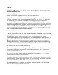 Relevant HIPAA and State Law Provisions