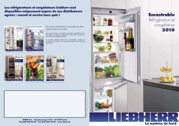 Encastrable Réfrigération et congélation 2010 - SOGEL