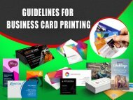 Guidelines for Printing Business Cards