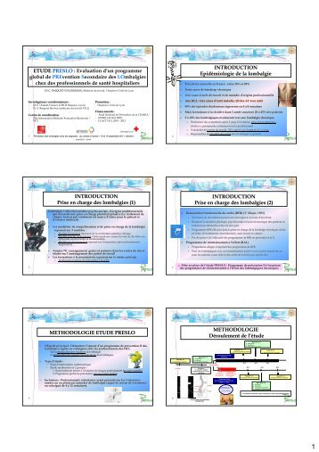 Etude PRESLO : Premiers résultats d'un programme global ... - SOHF