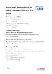 18th Scientific Meeting of the SOHT Geneva, Switzerland, August 28 ...