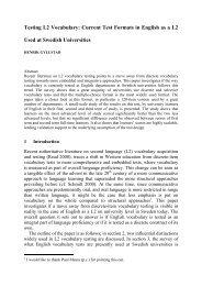 Henrik Gyllstad (2004). Testing L2 Vocabulary