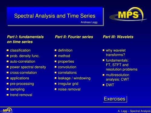 Spectral Analysis and Time Series - max planck research school ...