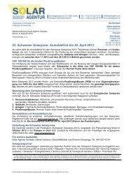 Medienmitteilung zur Ausschreibung Schweizer Solarpreis 2013