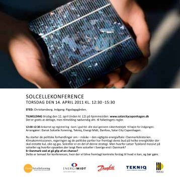 SOLCELLEKONFERENCE - Solar City Copenhagen