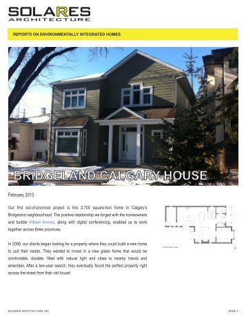 BRIDGELAND CALGARY HOUSE - Solares Architecture