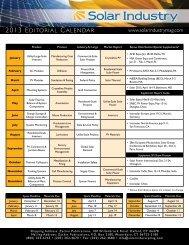 2013 EDITORIAL CALENDAR - SolarIndustryMag.com