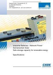 Industrial Batteries – Network Power Sonnenschein Solar Safe ...