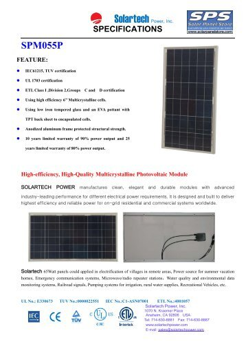 Spec Sheet - the Solar Panel Store