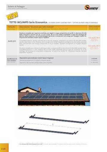 """Sistemi di fissaggio Articolo Descrizione """"Struttura per tetti inclinatiˮ"""