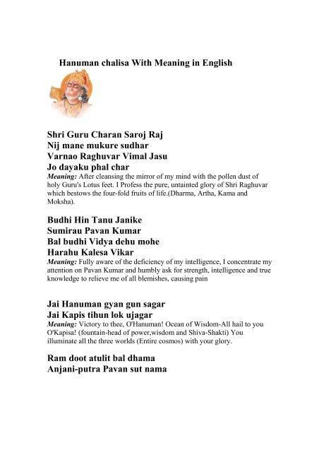 Hanuman Chalisa Meaning Pdf