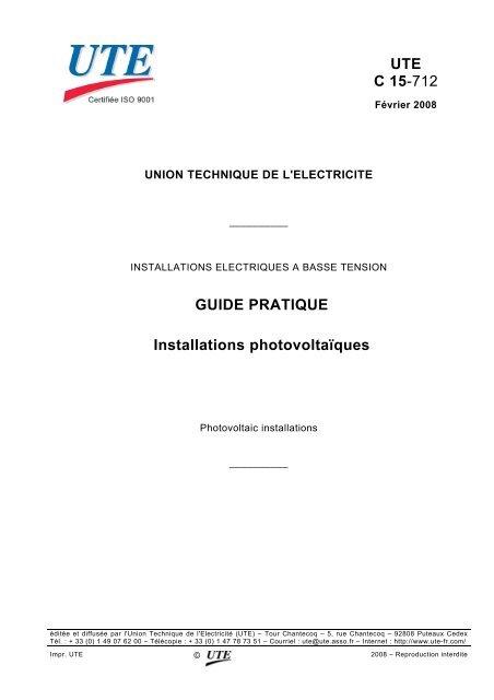 UTE C 15-712 GUIDE PRATIQUE Installations ... - Solarweb
