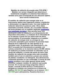 Medidor de radiación de energía solar PCE-SPM 1 ... - Solarweb