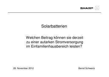 Solarbatterien - SolarZentrum Hamburg