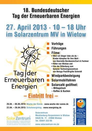 27. April 2013 · 10 – 18 Uhr - SolarZentrum Mecklenburg-Vorpommern