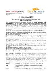 SOMMERSCHULE 2006 - SolarZentrum Mecklenburg-Vorpommern