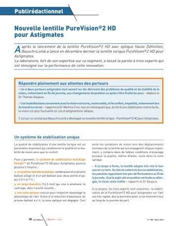 Nouvelle lentille PureVision®2 HD pour Astigmates - Contacto.fr