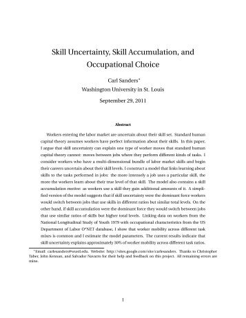 Skill Uncertainty, Skill Accumulation, and Occupational Choice
