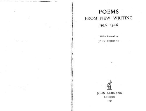 Poems From New Writing 1936 1946 Solearabiantree