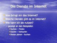 Die Dienste Im Internet - am Neckar und am Rhein Die Verbindungen