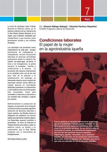 Condiciones laborales El papel de la mujer en la ... - Solidar