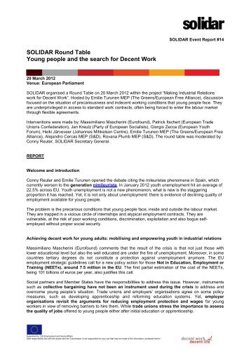 SOLIDAR Round Table Young people and the search for Decent Work