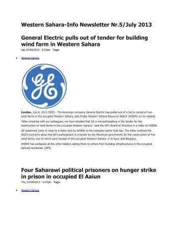 Western Sahara-Info Newsletter Nr.5/July 2013 General ... - Solidar