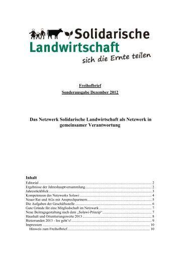 Freihof-Rundbrief 12/2012-Sonderausgabe - Solidarische ...