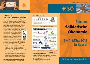 Veranstaltungsflyer - Kongress Solidarische Ökonomie