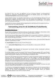 Stellenbeschreibung TeleSales_bundesweit - SolidLine AG