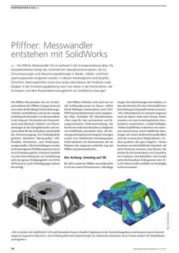 Pfiffner: Messwandler entstehen mit SolidWorks - Solid Solutions AG
