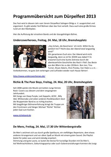 Programmübersicht zum Dürpelfest 2013 - Solingen-sommerparty.de