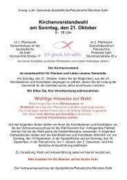 Faltblatt zur Kirchenvorstandswahl - und Petruskirche München-Solln